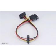 AKASA kabel  SATA redukce napájení ze 4pin Molex konektoru na 2x SATA, 30cm