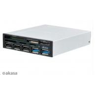"""AKASA čtečka karet  AK-ICR-16 do 3.5"""", 5-slotová, 3x USB 2.0, 2x USB 3.0, E-SATA"""