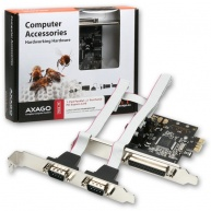 AXAGON PCEA-PS, PCIe adaptér - 1x paralelní (LPT) + 2x sériový port (RS232), vč. LP