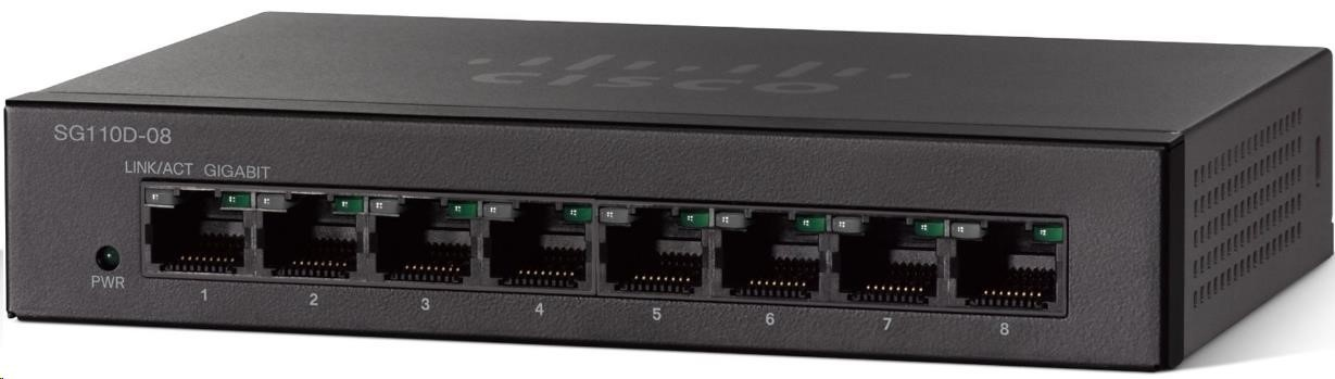 Cisco switch SG110D-08, 8x10/100/1000, desktop
