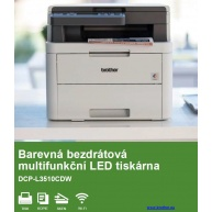 BROTHER multifunkce color LED DCP-L3510CDW - A4, 18ppm, 512MB, 600x600copy, USB2.0, WiFi, 250listů, DUPLEX