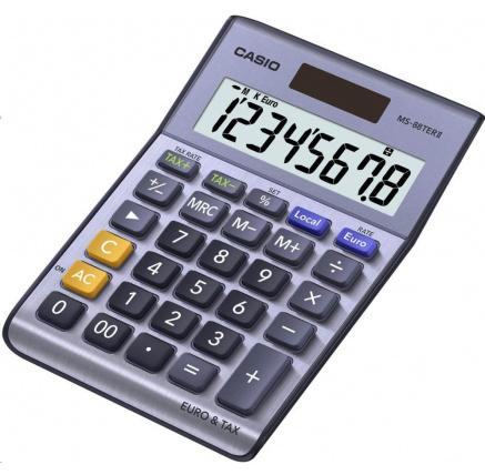 CASIO kalkulačka MS 88 TER II, stříbrná, stolní, osmimístná