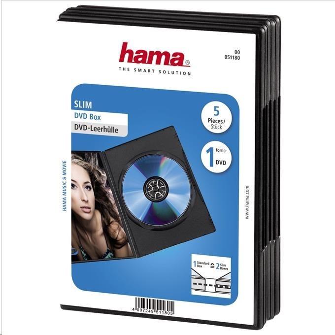 Hama DVD slimbox, 5 ks, čierny