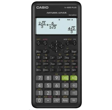 CASIO kalkulačka FX 82ES PLUS 2E, černá, školní, desetimístná