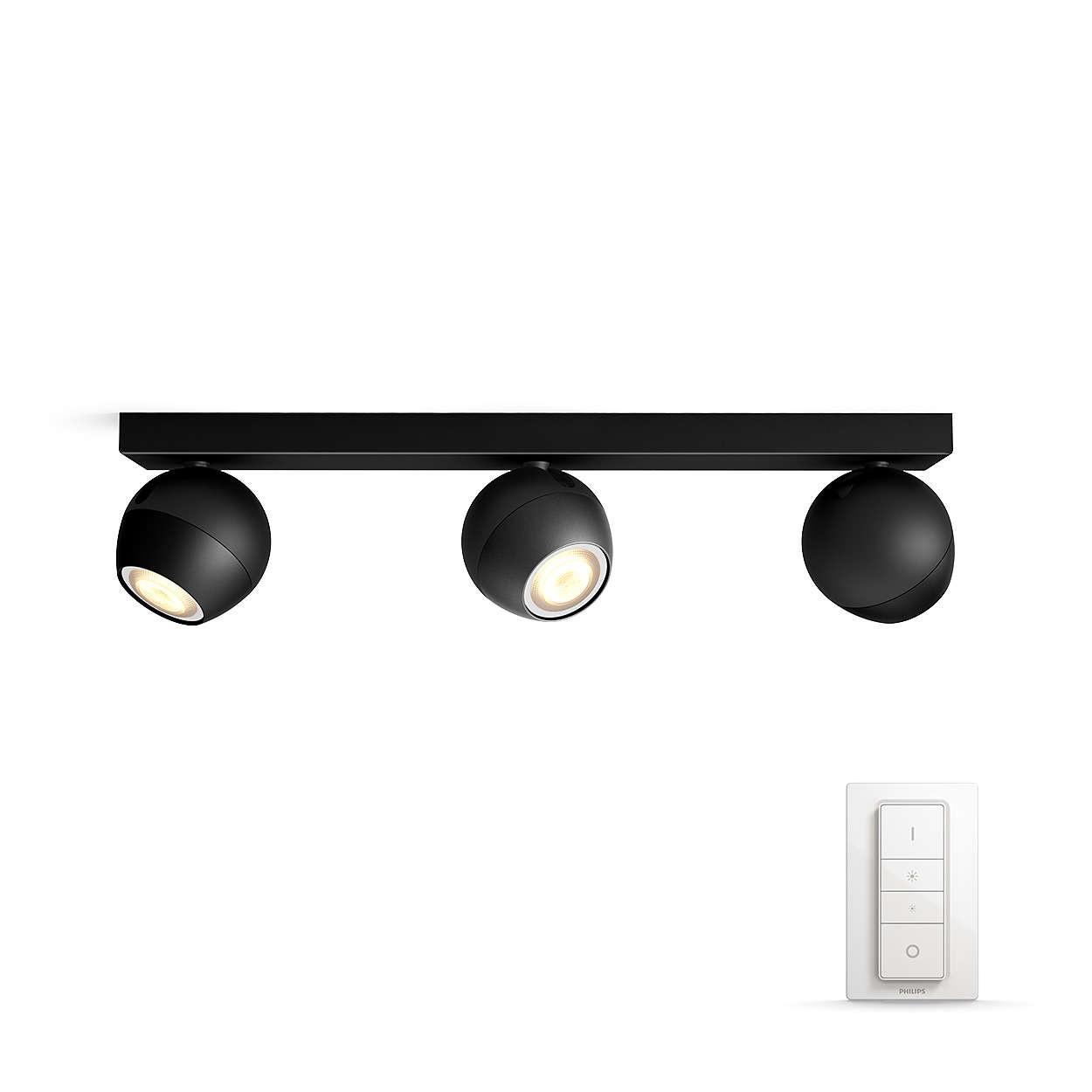 PHILIPS BUCKRAM Bodové svítidlo, Hue White ambiance, 230V, 3x5.5W GU10, Černá