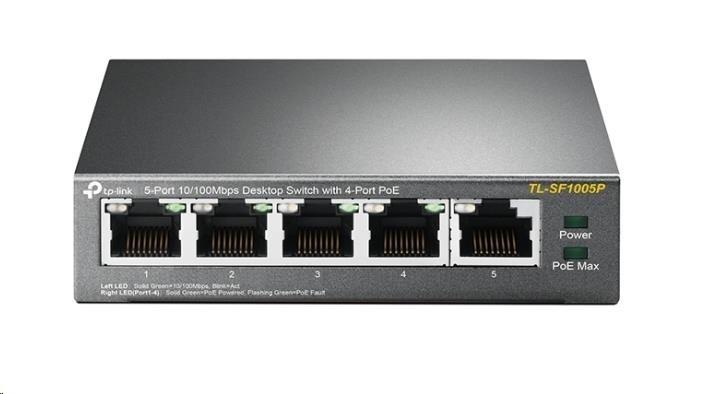TP-Link TL-SF1005P - PoE switch, 5xLAN/4xPoE, 58W