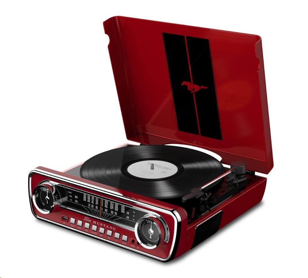 ION stylový gramofon v kufříku se zabudovanými speakery,  FM rádio, RIPovací fce, červený (X) (M)