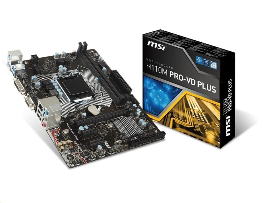 MSI MB Sc LGA1151 H110M PRO-VD PLUS, Intel H110, 2xDDR4, VGA+DVI, GbLAN, mATX