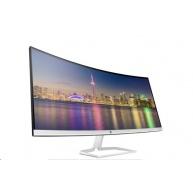 """LCD HP 34f Curved, zahnutý, 34"""", matný, WQHD (3 440 x 1 440 při 60 Hz), 300 cd/m2, 5 ms, HDMI, USB"""