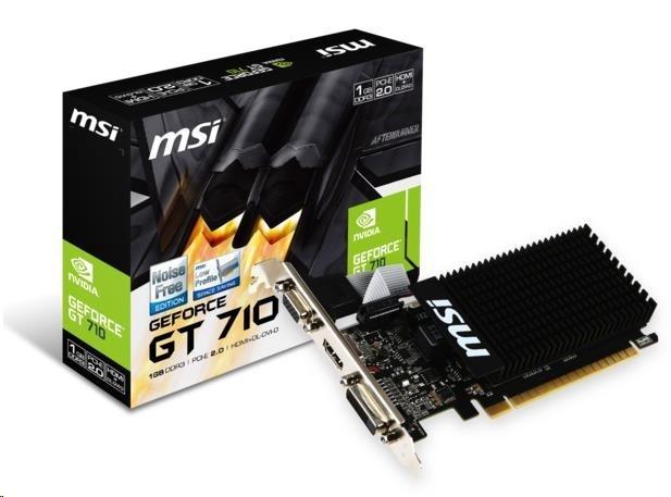 MSI VGA NVIDIA GT 710 1GD3H LP, GT710, GDDR3 1GB, DVI-I,HDMI,LP, pasiv