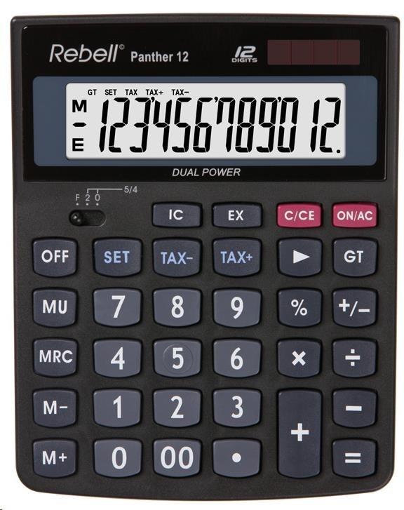 REBELL kalkulačka - PANTHER 12 - černá