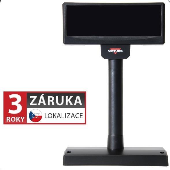 Virtuos zákaznický display FV-2029M, 2 x 20 znaků 9 mm, RS232, včetně napájení +12V, černý