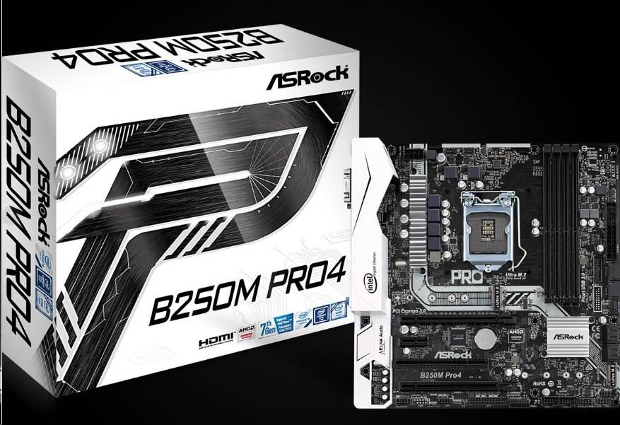 ASRock MB Sc LGA1151 B250M Pro4, Intel B250, 4xDDR4, VGA, mATX