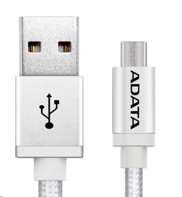 ADATA Micro USB kabel - USB A 2.0, 100cm, stříbrný