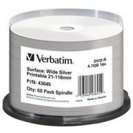 VERBATIM DVD-R(50-Pack)Spindle/Printable/16x/4.7GB/NON-ID /Silver Inkjet