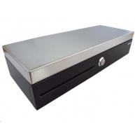 Virtuos pokladní zásuvka flip-top FT-460C2 - s kabelem, se zamykacím krytem, NEREZ víko, černá