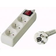 PREMIUMCORD Prodlužovací přívod 230V 7m, 3 zásuvky + vypínač, bílá