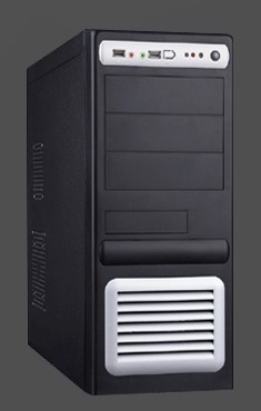 EUROCASE skříň ML5435 450W PFC black/silver, USB, audio, PCIe, 12cm fan