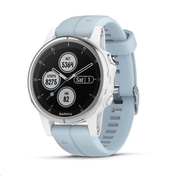 Garmin GPS sportovní hodinky fenix5S Plus White, mořský řemínek