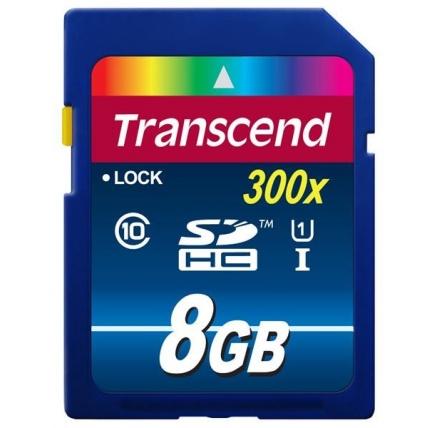 TRANSCEND SDHC Class 10 UHS-I, 300X, 8GB (Premium)