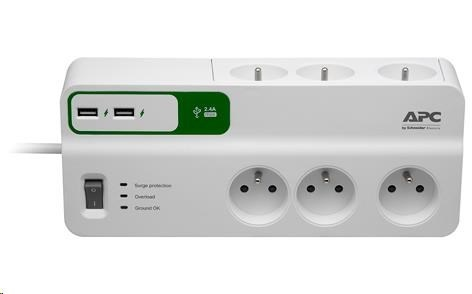 APC Essential SurgeArrest 6 outlets with 5V, 2.4A 2 port USB charger, 230V France, 2m