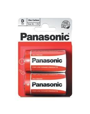 PANASONIC Zinkouhlíkové baterie - Red Zinc - blistr D 1,5V balení - 2ks