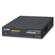 Planet FSD-504HPv2, Switch, PoE 5x 10/100, 4x 802.3at <60W, extend mód 10Mb/s do 250m, externí DC, fanless