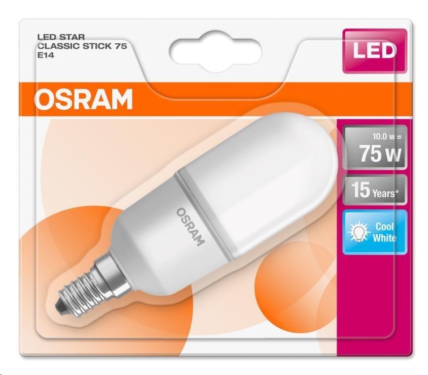 OSRAM LED STAR STICK  230V 10W 840 E14 noDIM A+ Plast matný 1050lm 4000K 15000h (blistr 1ks)