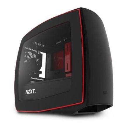 NZXT skříň MANTA / mini-ITX / bez zdroje / průhledná bočnice / černo-červená