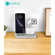COTEetCI nabíjecí stanice Base29 3v1 pro Apple iPhone & Watch & AirPods/Pro stříbrná