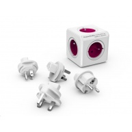 Allocacoc PowerCube ReWirable + Travel Plugs, white/pink