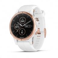 Garmin GPS sportovní hodinky fenix5S Plus Sapphire Rose, bílý řemínek