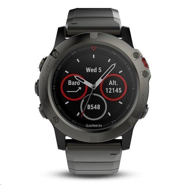 Garmin GPS sportovní hodinky fenix5x Sapphire Gray, kovový řemínek