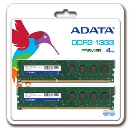 DIMM DDR3 4GB 1333MHz CL9 (KIT 2x2GB) ADATA, retail
