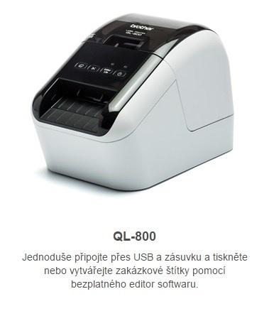 BROTHER tiskárna štítků QL-800 - 62mm, termotisk, USB, Profi. Tiskárna Štítků / po dokoupení DK-22251 tisk červeně /
