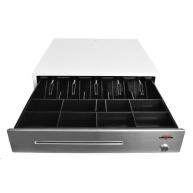 Virtuos pokladní zásuvka C430C, s kabelem 9-24V, kovové držáky bankovek, nerez. panel, bílá