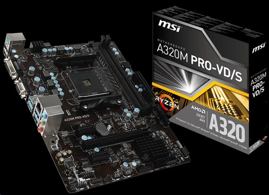 MSI MB Sc AM4 A320M PRO-VD/S V2, AMD A320, VGA, 2xDDR4