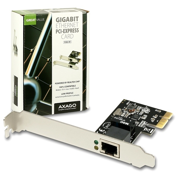 AXAGO PCEE-GR PCI-Express Gigabit Ethernet Realtek + LP