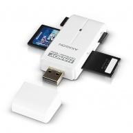 AXAGON CRE-D4, USB 2.0 externí HANDY čtečka 4-slot SD/MicroSD/MS/M2, bílá