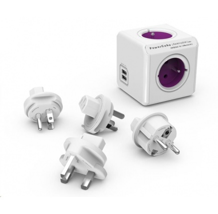 Allocacoc PowerCube ReWirable USB + Travel Plugs, white/purple