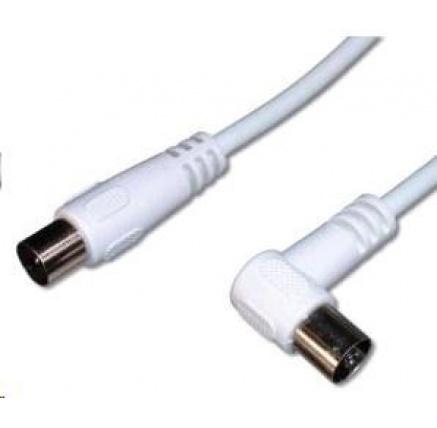 PREMIUMCORD TV kabel anténní propojovací 3m, konektor 90° (koaxiální, M/F, 75 Ohm)
