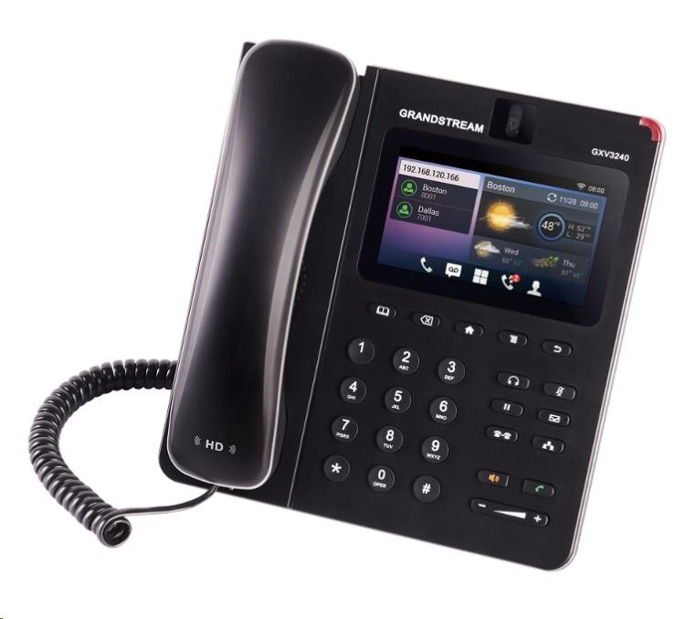 "Grandstream GXV3240 [IP video-telefon s Androidem, PoE, WiFi, 4.3"" dotykové LCD, mini HDMI, SD card slot, USB]"