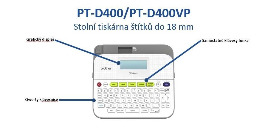 BROTHER tiskárna štítků PT-D400 - pásky TZe - 18mm