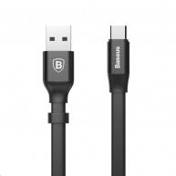 Baseus Nimble Series plochý nabíjecí / datový kabel USB-C 23cm, černá