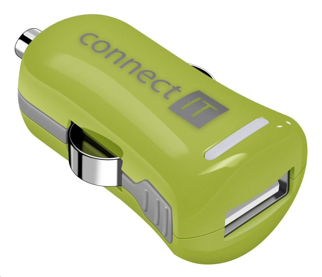 CONNECT IT InCarz COLORZ nabíječka do auta 1xUSB 2,1A, zelená (V2)