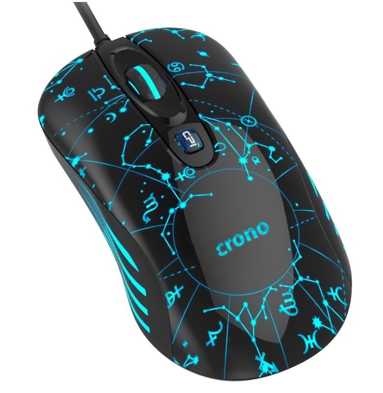 CRONO myš CM636B, laserová, gaming, 800/1600/3200 DPI, LED podsvícení, USB