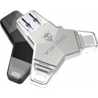 Viking USB Flash disk 3.0 4v1 s koncovkou Lightning/Micro USB/USB/USB-C, 128 GB, černá