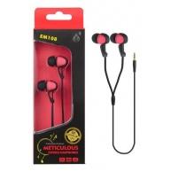 PLUS stereo sluchátka EM108, 3,5 mm jack, červená