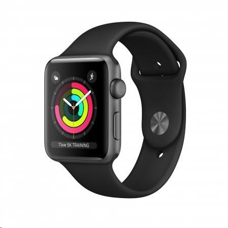 AppleWatch Series3 GPS, 42mm Space Grey Aluminium Case with Black Sport Band