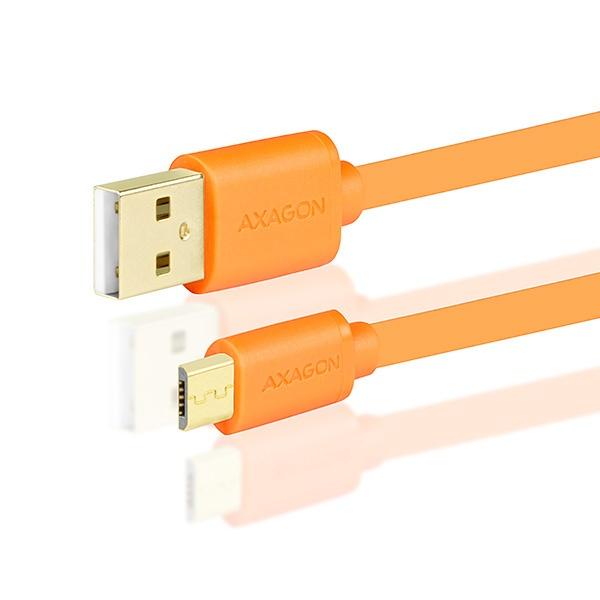 AXAGON - BUMM-AM02QO, HQ Kabel Micro USB <-> USB A, datový a nabíjecí 2A, oranžový, 0.2 m